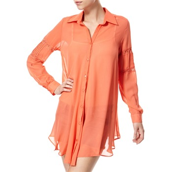 Vivi Boutique Coral Lace Trim Shirt