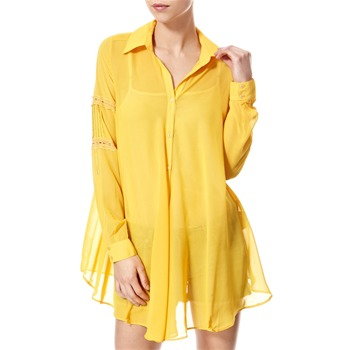 Vivi Boutique Yellow Lace Trim Shirt