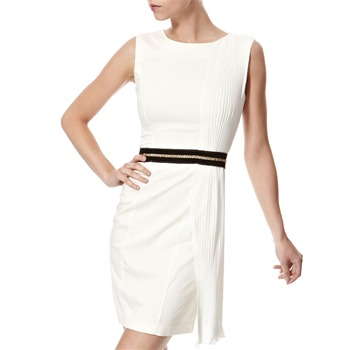 Vivi Boutique Cream Pleated Panel Shift Dress