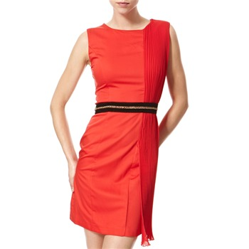 Vivi Boutique Red Pleated Panel Shift Dress