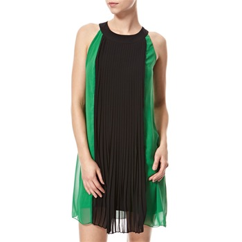 Vivi Boutique Green/Black Pleated Panel Dress