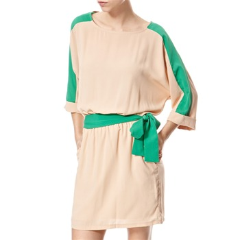 Vivi Boutique Beige/Green Panelled Dress