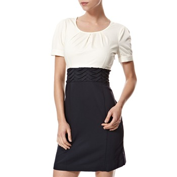 Vivi Boutique Navy/Cream Colour Block Pleat Dress