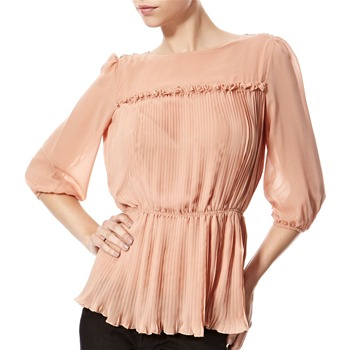 Vivi Boutique Tan Pleated Blouse
