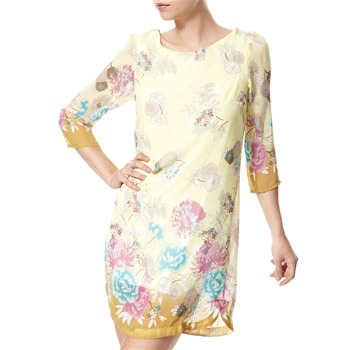 Vivi Boutique Yellow Floral Print Shift Dress