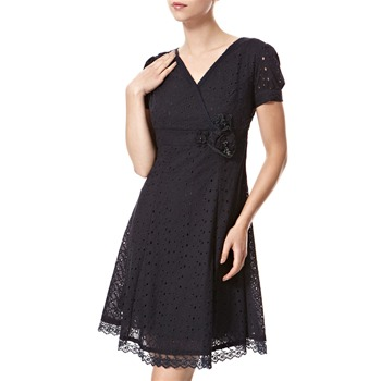 Vivi Boutique Navy Broderie Anglais Cotton Dress