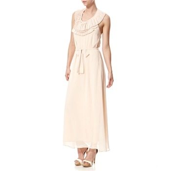 Vivi Boutique Light Pink Pleated Trim Maxi Dress