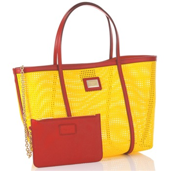 Dolce & Gabbana Yellow/Red Large Shopper