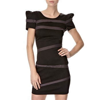 Lipsy Black Power Mesh Strip Dress