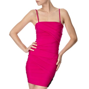 Lipsy Fuchsia Pleated Front Dress