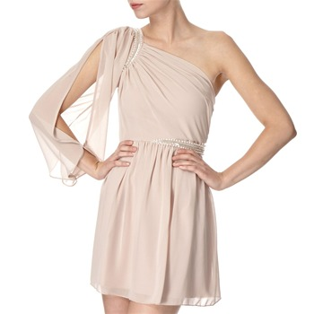 Lipsy Beige Embellished Chiffon Dress