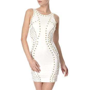 Lipsy White Studded Fitted Dress