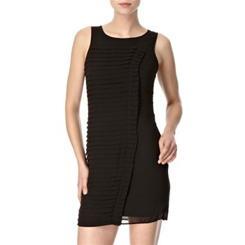 Lipsy Black Asymmetric Pleated Panel Shift Dress