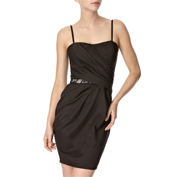 Lipsy Black Pleated Bust Structured Dress