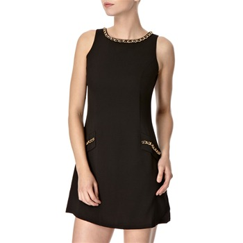 Lipsy Black Chain Detail Shift Dress