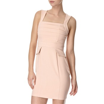 Lipsy Nude Pink Peplum Pleat Dress