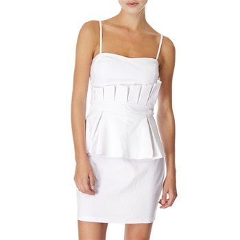 Lipsy White Pleated Peplum Dress