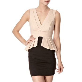 Lipsy Beige/Black Peplum Fan Dress
