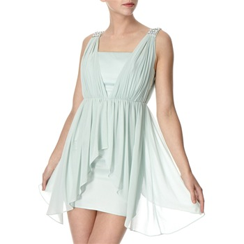 Lipsy Mint Chiffon Waterfall Drape Dress