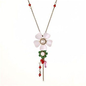 Les Néréides White/Red Clair De Jour Necklace