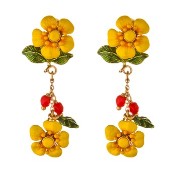 Les Néréides Yellow/Red/Green Reine Des Pres Earrings