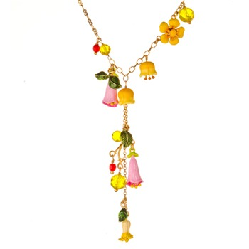 Les Néréides Yellow/Multi Reine Des Pres Drop Necklace