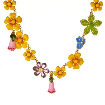 Les Néréides Yellow/Multi Flower Reine Des Pres Necklace