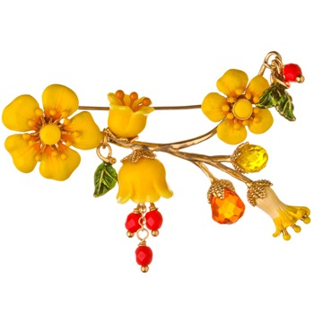 Les Néréides Yellow/Red Reine Des Pres Brooch