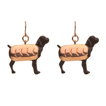 N2 Black/Brass Sausage Dog Earrings