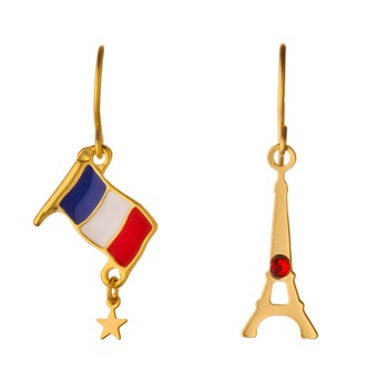 N2 Gold Eiffel Tower/Flag Earrings