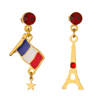 N2 Gold/Red Eiffel Tower/Flag Earrings