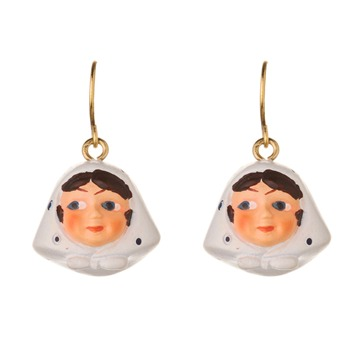 N2 White/Gold Lady Earrings