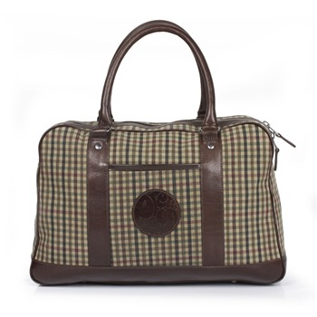 Pretty Green Beige Check Canvas/Leather Holdall