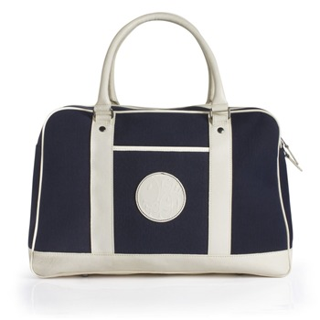Pretty Green Navy Canvas/Leather Holdall