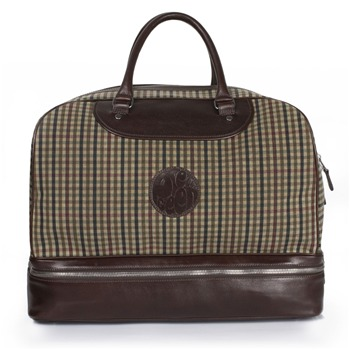 Pretty Green Beige Check Canvas/Leather Weekend Bag
