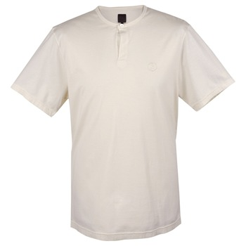 Pretty Green Cream Single Button Cotton T-Shirt