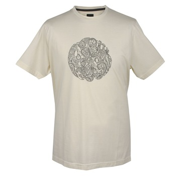 Pretty Green Cream Paisley Print Cotton T-Shirt