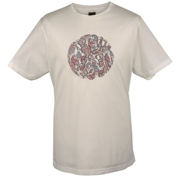 Pretty Green Cream/Multi Paisley Print Cotton T-Shirt