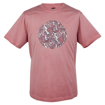 Pretty Green Rust Red Paisley Print Cotton T-Shirt