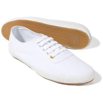 Pretty Green White Lace-up Canvas Pumps