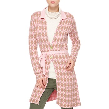 Avoca Anthology Pink Argyle Cashmere/Angora Blend Coatigan