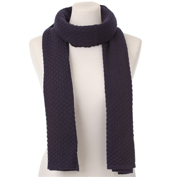Avoca Anthology Navy Diamond Knit Cotton/Wool Scarf