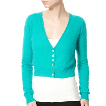 Avoca Anthology Turquoise Cropped Angora Blend Cardigan