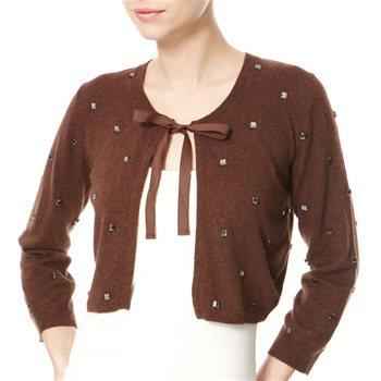 Avoca Anthology Brown Jewel Lambswool/Angora Blend Cardigan