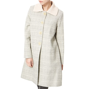 Avoca Anthology Grey/Cream Knitted Collar Wool Coat