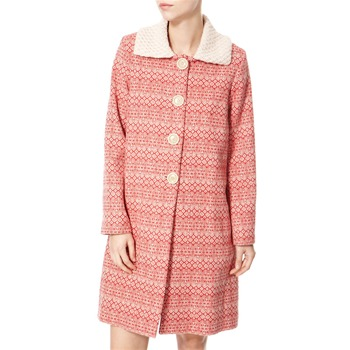 Avoca Anthology Red/Cream Knitted Collar Wool Coat