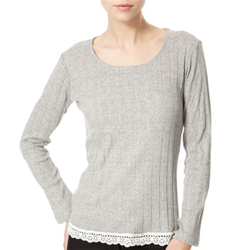 Avoca Anthology Grey Lace Trimmed Ribbed Top