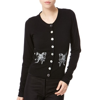 Avoca Anthology Black Bow Print Cotton Cardigan