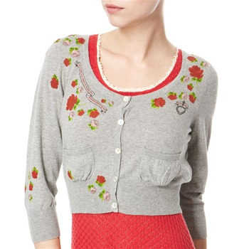 Avoca Anthology Grey Cropped Floral Cotton Cardigan