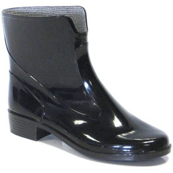 Favolla Black Ankle Jelly Wellington Boots 3cm Heel